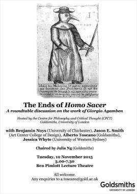 The Ends of Homo Sacer - 10/11/15