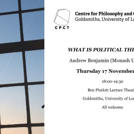 Andrew Benjamin, 'What is Political Theology?', 17 November 2016