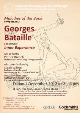 Maladies of the Book, II: Bataille (CPCT/Art Symposium Series 2017-18)