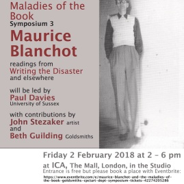 Maladies of the Book — Maurice Blanchot - 2 February 2018
