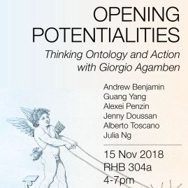 Opening Potentialities: Thinking Ontology and Action with Giorgio Agamben - 15 Nov 2018