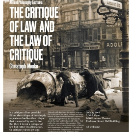 "Goldsmiths Annual Philosophy Lecture: Christoph Menke, ""The Critique of Law and the Law of Critique"" - 29 May 2019"