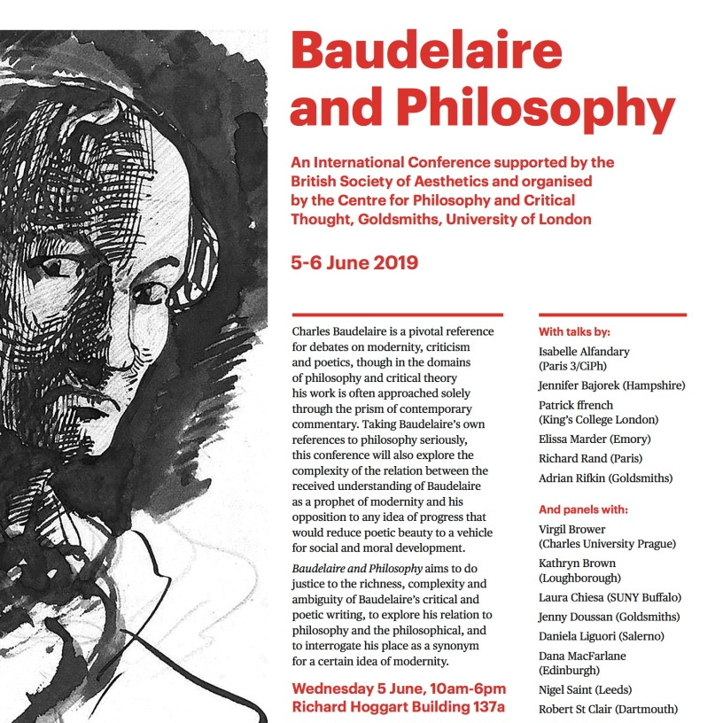 Baudelaire and Philosophy—A British Society of Aesthetics Conference, 5-6 June 2019
